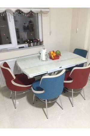 4 Selo Sandalye + Cam İkon Masa