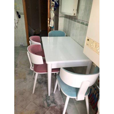 4 Adet Kavisli Sandalye +Kelebek Masa