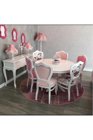 6 İnci Sandalye + Yuvarlak Masa Takımı