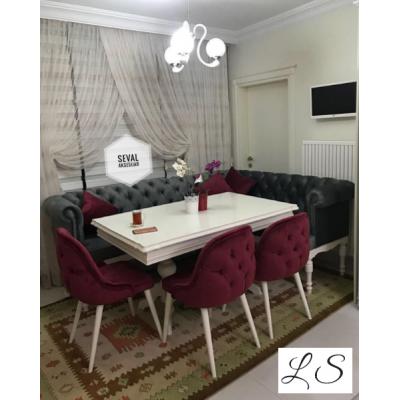 Chester Köşe + İnci Masa + 3 Sandalye