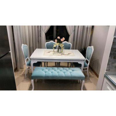 4 İnci Sandalye +120cm'Lik Puf 90X145cm Sabit Lükens Masa