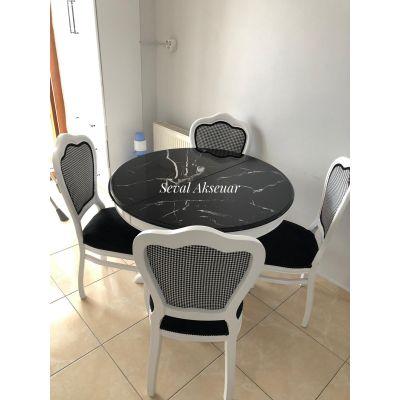 İnci Sandalye + Yuvarlak Masa (Mermer Desen)