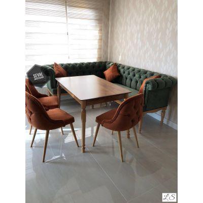 Chester Köşe + Retro Masa + 3 Sandalye
