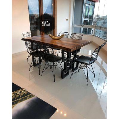 6 Adet Tel Sandalye + Kütük Masa